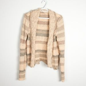 Free People Knit Striped Cardigan Nude Pallet M